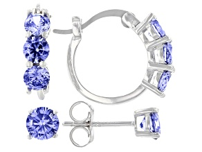 Blue Cubic Zirconia Rhodium Over Sterling Silver Earring Set 3.74ctw