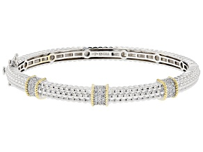 White Cubic Zirconia Rhodium And 14K Yellow Gold Over Sterling Silver Bracelet 0.83ctw