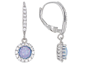 Lab Created Blue Opal And White Cubic Zirconia Rhodium Over Sterling Silver Earrings 2.68ctw