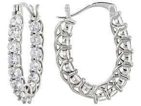 White Cubic Zirconia Rhodium Over Sterling Silver Hoop Earrings 5.04ctw