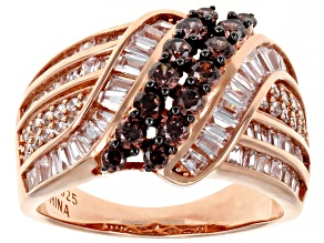 Mocha And White Cubic Zirconia 18k Rose Gold Over Sterling Silver Ring 2.93ctw