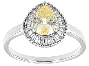 Canary And White Cubic Zirconia Rhodium Over Sterling Silver Ring 1.97ctw
