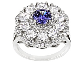 Blue And White Cubic Zirconia Platinum Over Sterling Silver Ring 6.40ctw