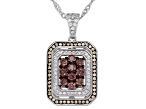 Mocha, Champagne, And White Cubic Zirconia Rhodium Over Sterling Silver Pendant With Chain 2.05ctw