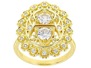White Cubic Zirconia 18k Yellow Gold Over Sterling Silver Ring 1.58ctw