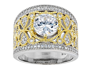 Picture of White Cubic Zirconia Rhodium and 14K Yellow Gold Over Sterling Silver Ring 3.94ctw