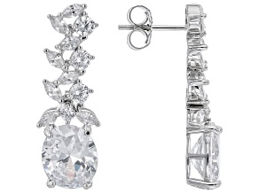 White Cubic Zirconia  Rhodium Over Sterling Silver Earrings 12.41ctw