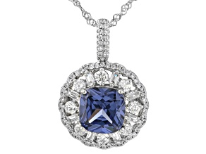 Blue And White Cubic Zirconia Rhodium Over Sterling Silver Pendant With Chain