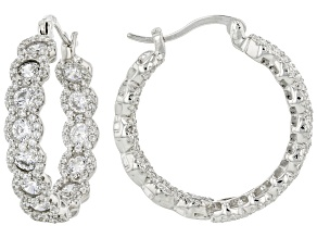 White Diamond Cubic Zirconia Rhodium Over Sterling Silver Earrings 6.83ctw