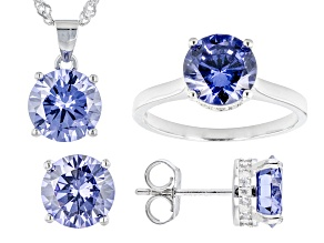 Blue And White Cubic Zirconia Platinum Over Sterling Silver Jewelry Set 12.19ctw