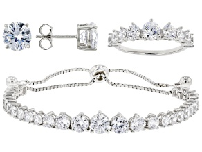 White Cubic Zirconia Rhodium Over Sterling Silver Jewelry Set 15.60ctw