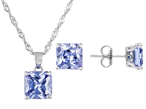 Blue Cubic Zirconia Rhodium Over Sterling Silver Jewelry Set 10.80ctw