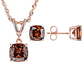 Mocha Cubic Zirconia Eterno 18k Rose Gold Over Sterling Silver Jewelry Set