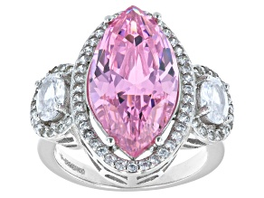 Pink And White Cubic Zirconia Rhodium Over Sterling Silver Ring 1.19ctw