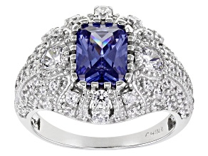 Blue And White Cubic Zirconia Rhodium Over Sterling Silver Ring 4.64ctw