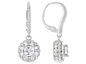 White Cubic Zirconia Rhodium Over Sterling Silver Earrings 3.27ctw