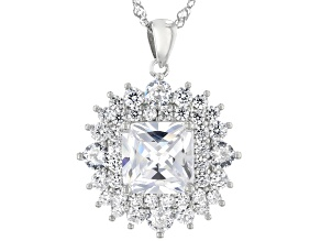 White Cubic Zirconia Rhodium Over Sterling Silver Pendant With Chain 8.63ctw