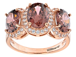 Blush And White Cubic Zirconia 18k Rose Gold Over Sterling Silver Ring 6.97ctw