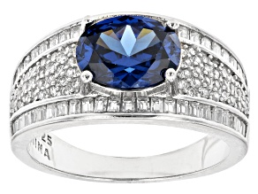 Blue And White Cubic Zirconia Rhodium Over Sterling Silver Ring 3.78ctw