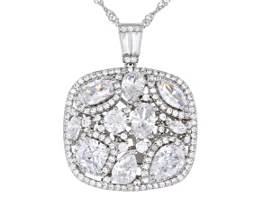 White Cubic Zirconia Rhodium Over Sterling Silver Pendant With Chain 6.68ctw