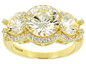 Canary And White Cubic Zirconia 18k Yellow Gold Over Sterling Silver Ring 7.04ctw