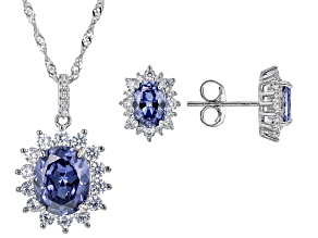 Blue And White Cubic Zirconia Platinum Over Sterling Silver Jewelry Set