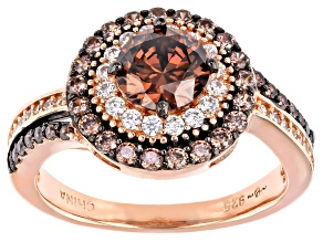 Mocha And White Cubic Zirconia Black Rhodium Over Silver and 18k Rose Gold Over Silver Ring 2.84ctw