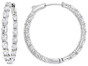 White Cubic Zirconia Rhodium Over Sterling Silver Hoop Earrings 8.26ctw
