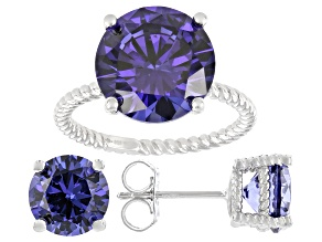 Blue Cubic Zirconia Rhodium Over Sterling Silver Jewelry Set 16.27ctw
