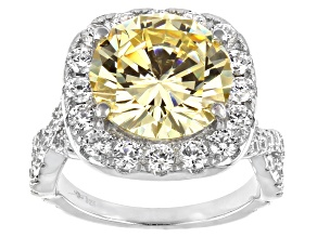 Yellow And White Cubic Zirconia Rhodium Over Sterling Silver Ring 13.97ctw