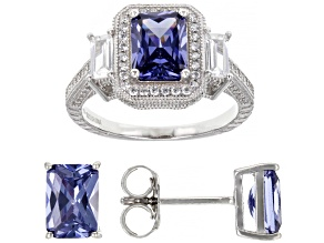 Blue And White Cubic Zirconia Rhodium Over Sterling Silver Jewelry Set 6.76ctw