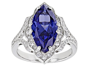 Blue And White Cubic Zirconia Rhodium Over Sterling Silver Ring 6.60ctw