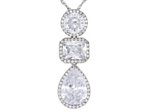 White Cubic Zirconia Rhodium Over Sterling Silver Pendant With Chain 15.67ctw