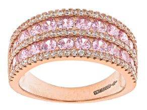 Pink And White Cubic Zirconia 18k Rose Gold Over Sterling Silver Ring 3.18ctw