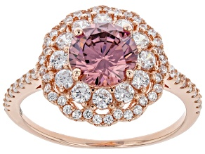 Blush And White Cubic Zirconia 18k Rose Gold Over Sterling Silver Ring