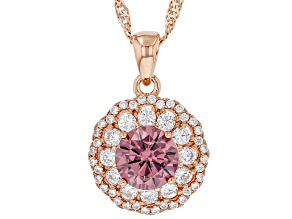 Blush And White Cubic Zirconia 18k Rose Gold Over Sterling Silver Pendant With Chain 2.91ctw