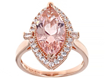 Picture of Morganite Simulant And White Cubic Zirconia Eterno 18k Rose Gold Over Sterling Silver Ring 4.87ctw