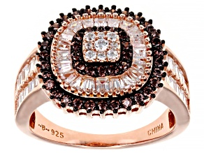 Mocha And White Cubic Zirconia 18k Rose Gold Over Sterling Silver Ring 2.55ctw