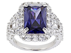 Blue And White Cubic Zirconia Rhodium Over Sterling Silver Ring 15.06ctw