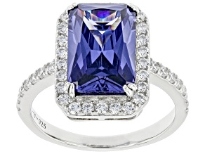 Blue And White Cubic Zirconia Rhodium Over Sterling Silver Ring 6.81ctw