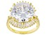 White Cubic Zirconia 18k Yellow Gold Over Sterling Silver Ring 18.02ctw