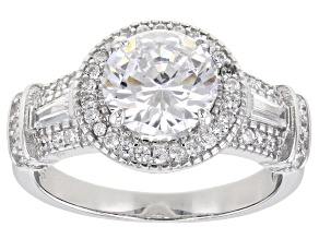 White Cubic Zirconia Rhodium Over Sterling Silver Ring 3.72ctw