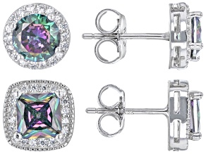 Multi Color And White Cubic Zirconia Rhodium Over Sterling Silver Earring Set 6.59ctw