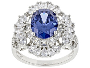 Blue And White Cubic Zirconia Rhodium Over Sterling Silver Ring 6.15ctw