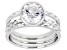 White Cubic Zirconia Rhodium Over Sterling Silver Ring Set 3.46ctw
