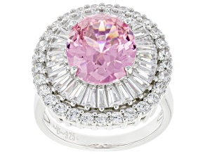 Pink And White Cubic Zirconia Rhodium Over Sterling Silver Ring 8.50ctw