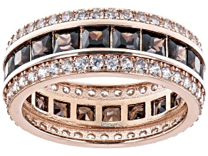 Mocha And White Cubic Zirconia 18k Rose Gold Over Sterling Silver Eternity Band6.47ctw