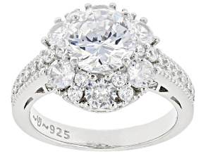 White Cubic Zirconia Rhodium Over Sterling Silver Ring 5.67ctw