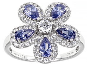 Blue And White Cubic Zirconia Rhodium Over Sterling Silver Ring 2.29ctw