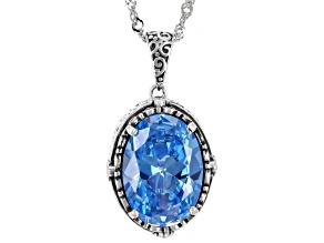 Blue Cubic Zirconia Rhodium Over Sterling Silver Pendant With Chain 8.28ctw
